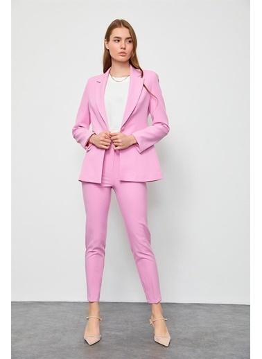 Setre Mavi Blazer Ceket Pantolon Takım Pembe